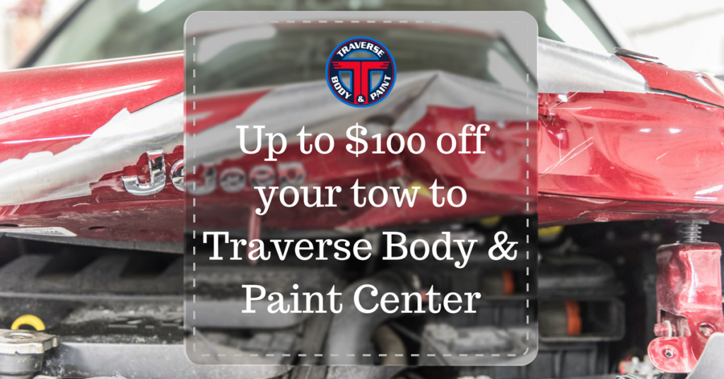 $100 off your tow to Traverse Body & Paint Center - special offer